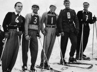 Vintage portrait of skiers